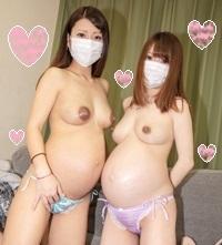 【個撮】【モ無】ボテ腹妊婦さんと中出し3Pセックス【特別編】 りおん&みりあ